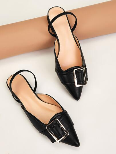 Point Toe Buckle Decor Slingback Flats