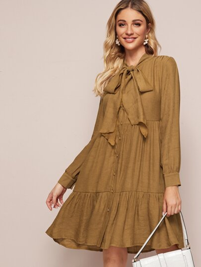 Tie Neck Button Front Ruffle Hem Dress