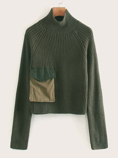 Pocket Patched Ribbed Knit Sweater