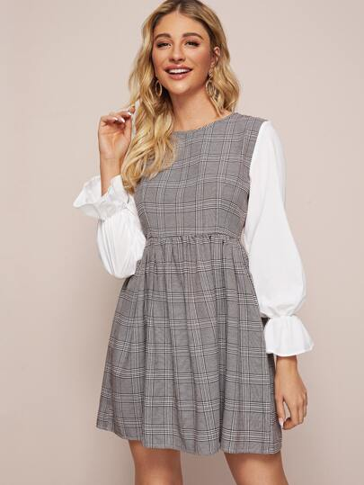 Plaid Print Contrast Sleeve High Waist Dress