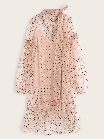 Tie Neck Confetti Print Smock Sheer Dress