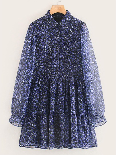 Allover Print Flounce Sleeve Shirt Dress