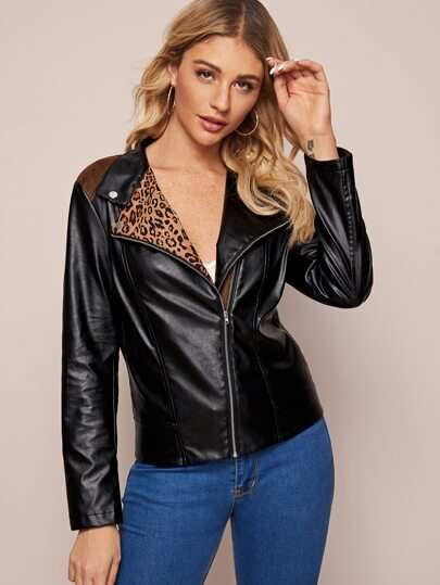 Zip Up Leopard Print Lined Biker Jacket
