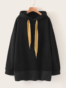 Drop Shoulder Oversized Drawstring Hoodie