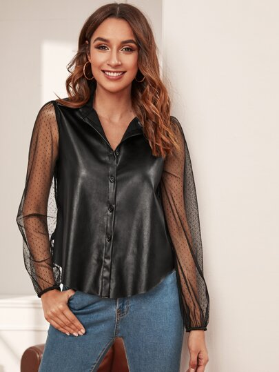Dobby Mesh Sleeve Button Up PU Blouse