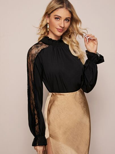Mock Neck Contrast Lace Frill Blouse