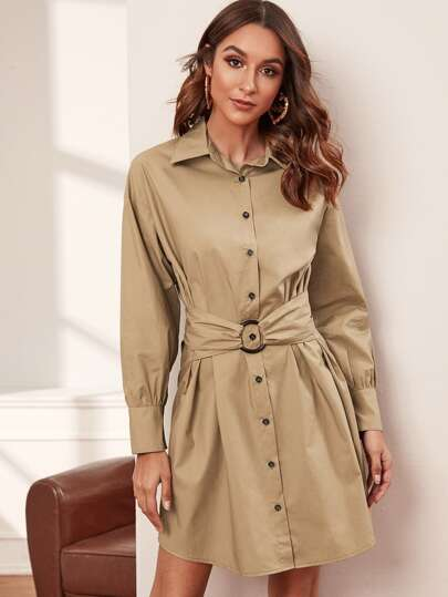 O-ring Belted Button Front Shirt Dress