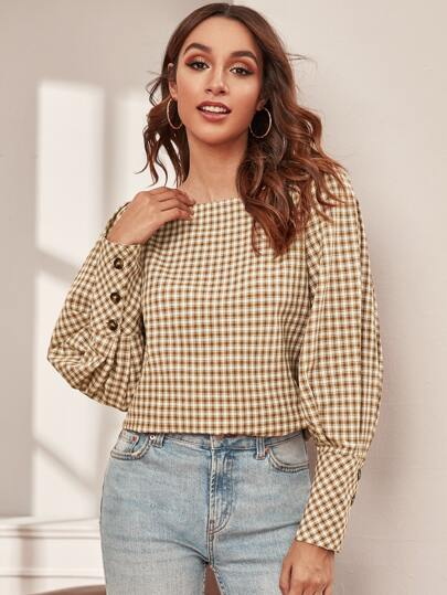 Boat Neck Plaid Leg-of-mutton Sleeve Blouse