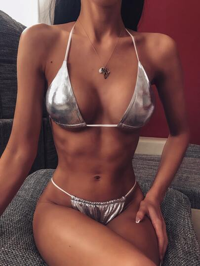 Metallic Triangle Top With High Cut Bikini Set