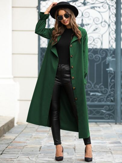 Self Tie Flounce Sleeve Button Up Trench Coat