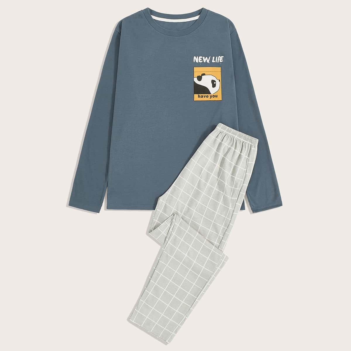 Мужская пижама с мультяшным принтом