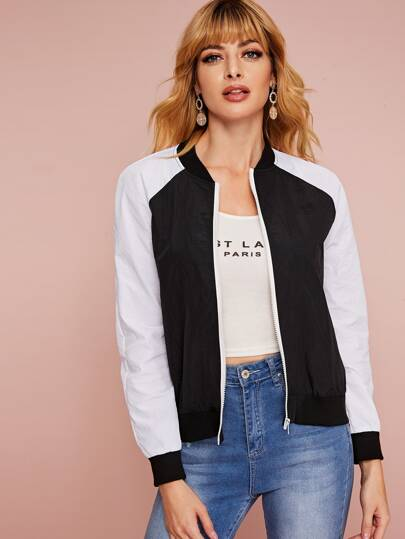 Two Tone Zip Up Bomber Jacket