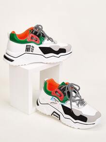 Color Block Letter Graphic Chunky Sneakers