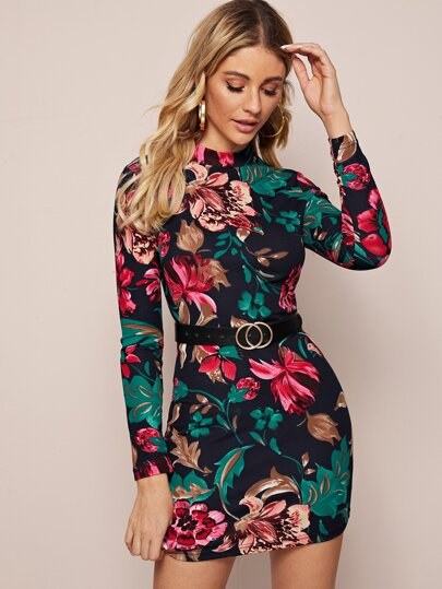 Mock Neck Floral Print Bodycon Dress Without Belt