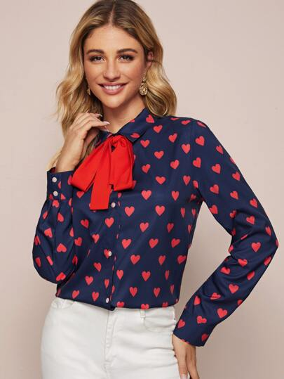 Heart Print Tie Front Button Through Blouse