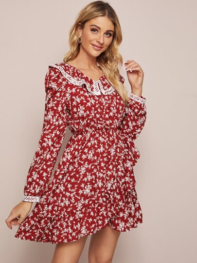 Ditsy Floral Print Contrast Lace Doll Collar Dress