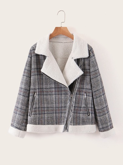 Sherpa Lined Plaid Biker Jacket