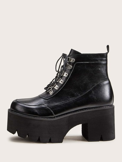 Lace-up Front Platform Chunky Boots
