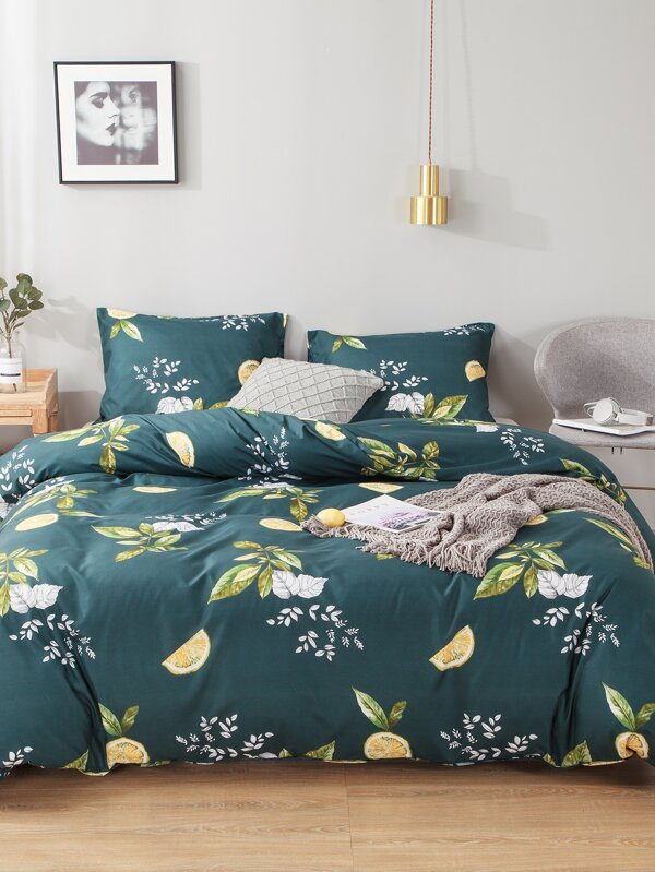Plant & Orange Print Sheet Set by Sheinside