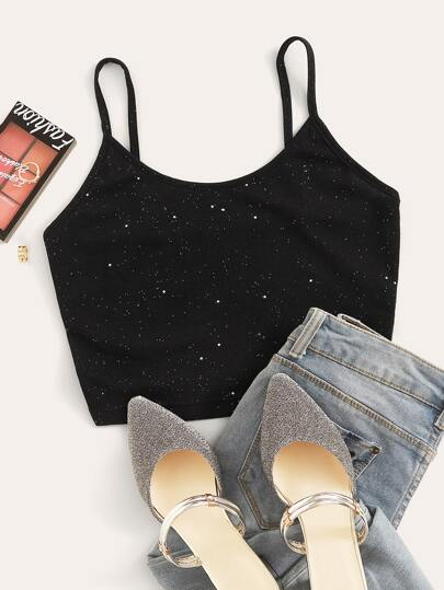 Galaxy Ribbed Crop Cami Top