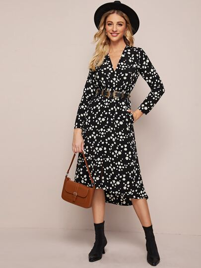 Floral Print Surplice Front Dress