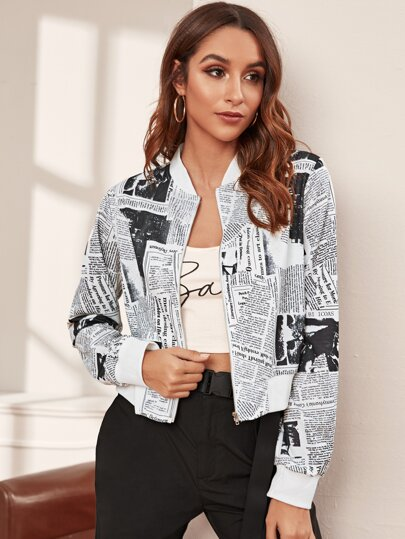 Newspaper Print Zip Up Bomber Jacket