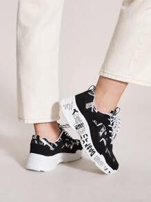Letter Graphic Lace-up Front Chunky Sneakers