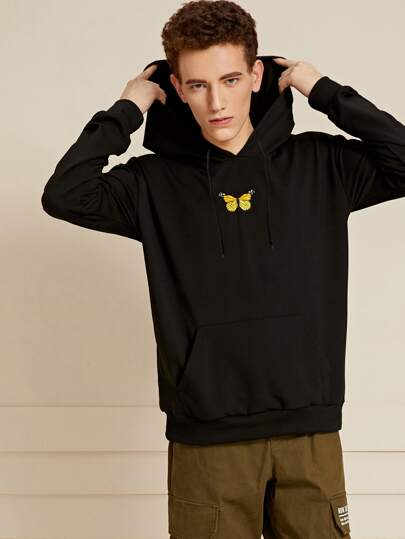 Guys Butterfly Embroidery Kangaroo Pocket Hoodie