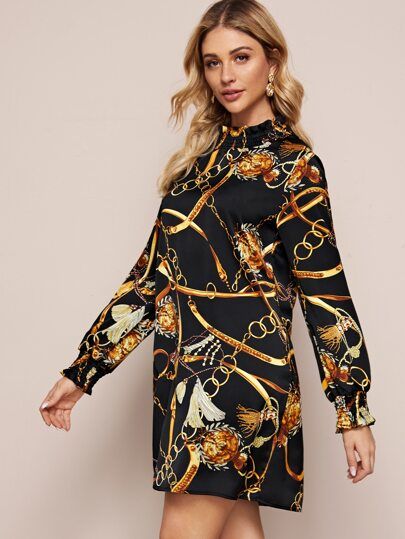 Chain Print Shirred Mock Neck Dress