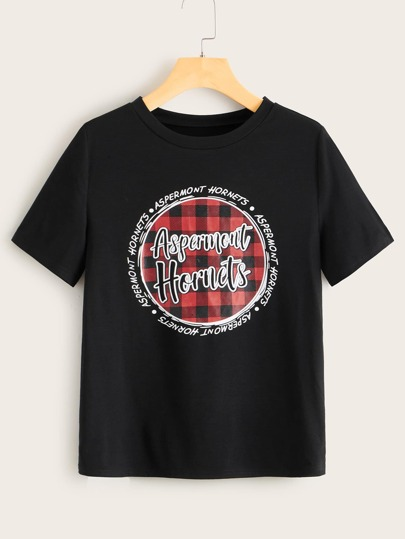 Letter And Gingham Crew Neck Tee