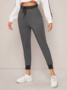 Contrast Panel Drawstring Waist Leggings