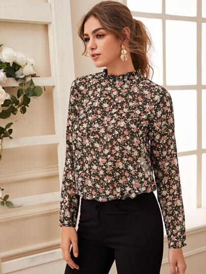 Floral Print Frill Trim Sheer Blouse