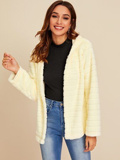 Open Front Solid Hooded Faux Fur Coat