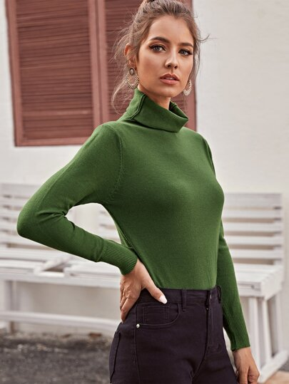 Solid High Neck Ribbed Cuff Sweater