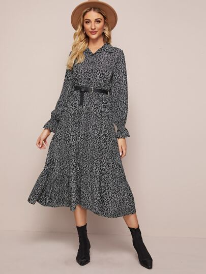 Ditsy Floral Print Ruffle Hem Shirt Dress