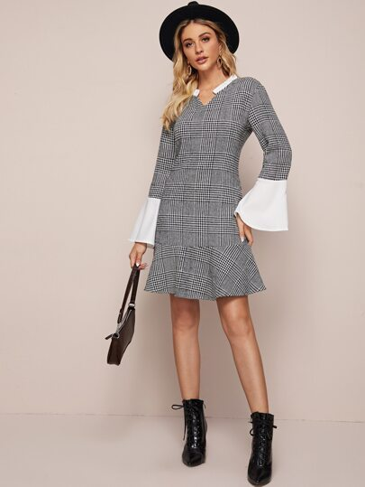 Notch Collar Ruffle Hem Plaid Dress
