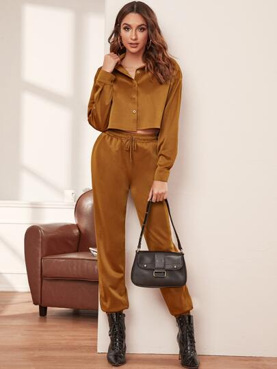 Button Through Blouse & Drawstring Waist Sweatpants