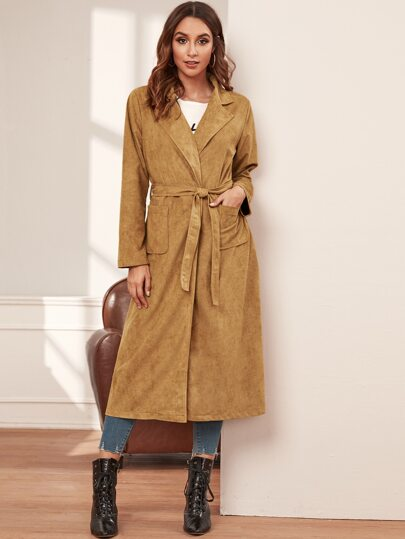 Open Front Double Pocket Belted Suede Coat