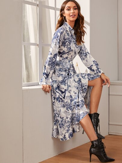 Landscape Print Button Through Belted Shirt Dress