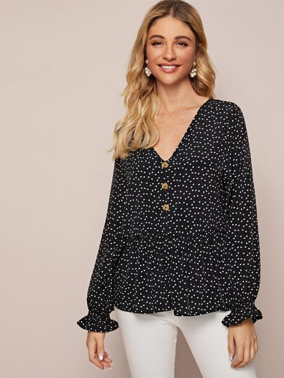 All Over Heart Print Ruffle Hem Blouse