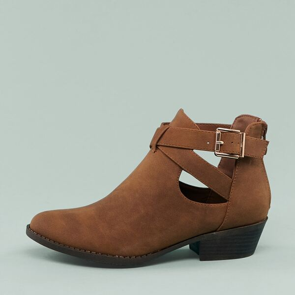 Cut Out Buckle Detail Almond Toe Low Heel Booties, Brown