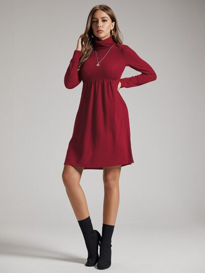 SBetro Solid Funnel Neck A-line Dress
