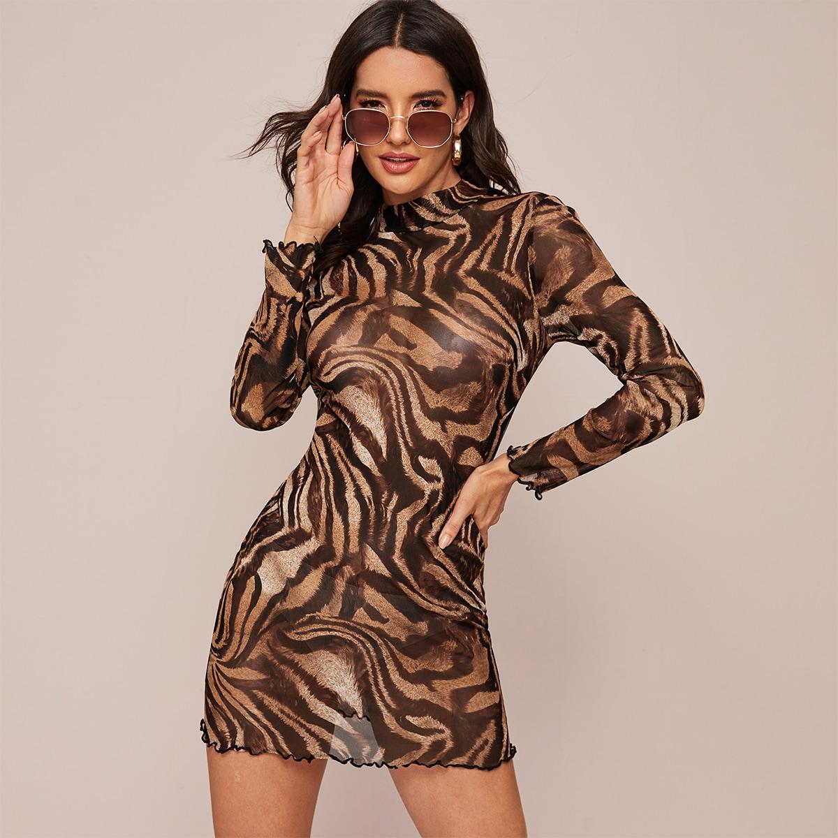 Тигровое полосатое прозрачное платье с оригинальной отделкой