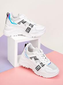 Holographic Detail Mesh Panel Chunky Sneakers