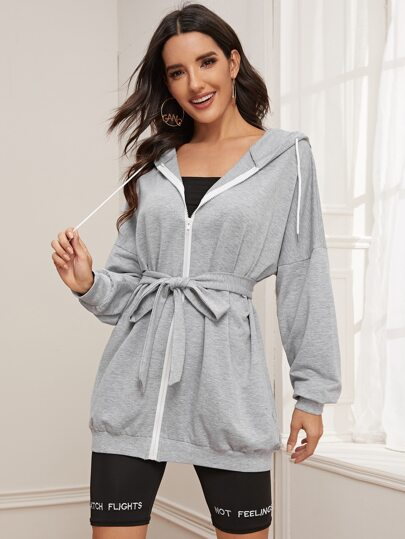 Zip Up Belted Drawstring Hooded Sweatshirt
