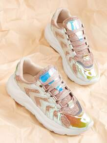 Holographic Panel Glitter Chunky Sneakers