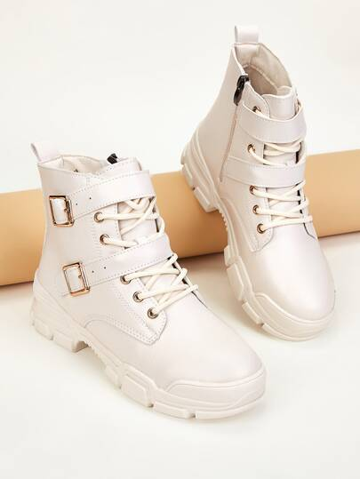 Double Buckle Strap Combat Boots