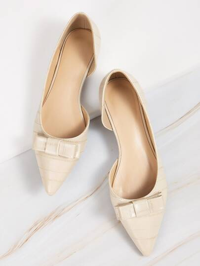 Bow Decor Point Toe Dorsay Flats