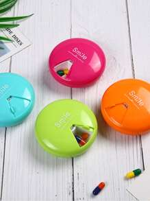 1pc Round Rotary Pill Storage Box