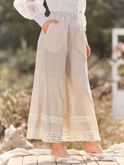 Contrast Lace Striped Wide Leg Pants